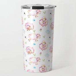 Cute Pink Sheep Pattern Travel Mug