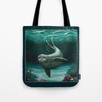 hawaiian Tote Bags featuring Hawaiian Monk Seal ~ Acrylic by Amber Marine