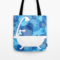 toilet Tote Bags featuring Toilet - bath by Raquel Basso