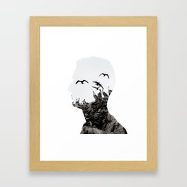 Head with Islas Ballestas birds Framed Art Print