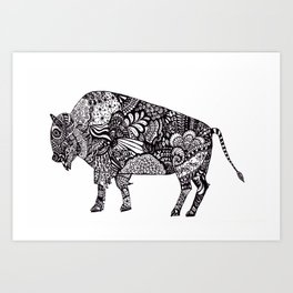 Buffalo/Bison Zentangle Art Print