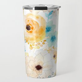 Blue and Yellow Floral Travel Mug