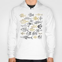 black and gold Hoodies featuring Inked Fish – Black & Gold by Cat Coquillette