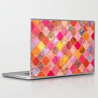 bedding Laptop & iPad Skins featuring Hot Pink, Gold, Tangerine & Taupe Decorative Moroccan Tile Pattern by micklyn