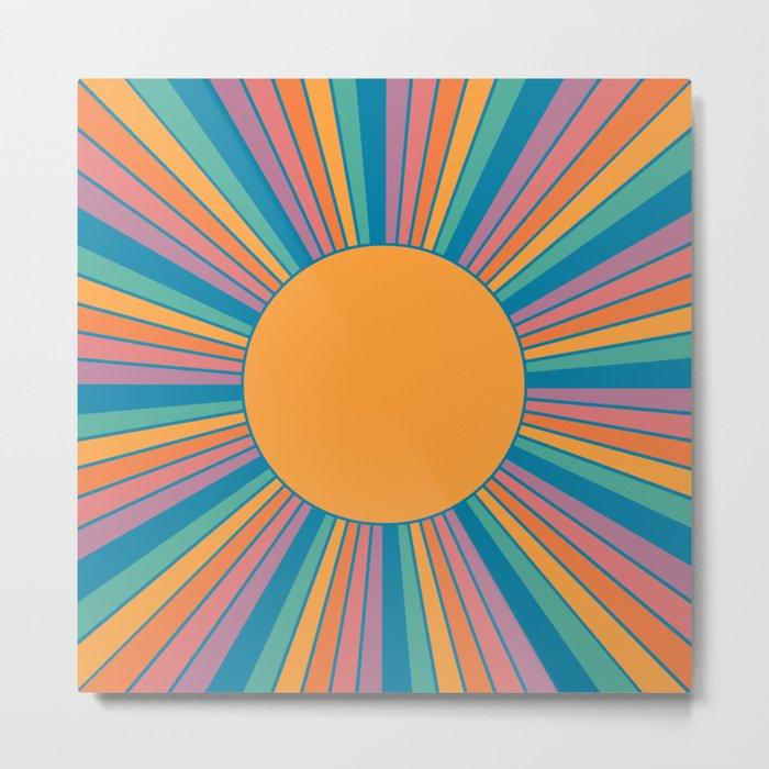 Sunshine State Metal Print - orange square metal wall art
