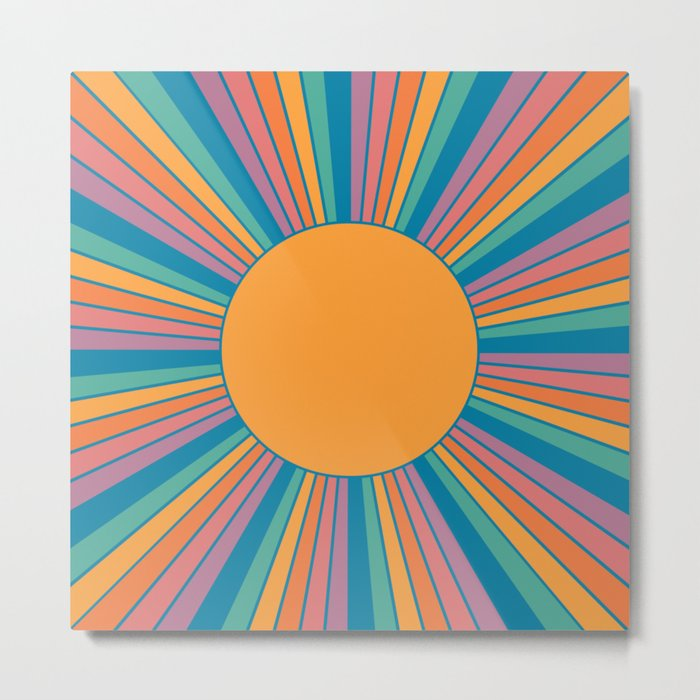 Sunshine Metal Print - orange square metal wall art
