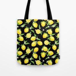 You're the Zest - Lemons on Black Tote Bag