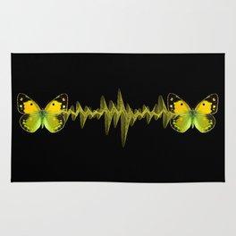 Pulse - Yellow butterflies sound waves Rug