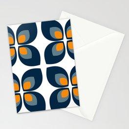 Minimal Art Mid Century Modern Leaf Flower Pattern Blue and Orange Stationery Cards