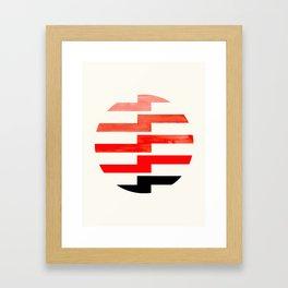 Minimalist Mid Century Circle Frame Vermillion Red Zig Zag Colorful Lightning Bolt Geometric Pattern Framed Art Print