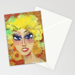 Lora with sunflowers Stationery Cards