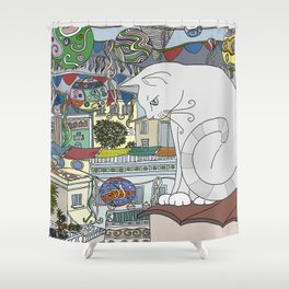 cat & party night Shower Curtain