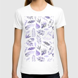 Modern hand painted purple violet watercolor leaves T-shirt