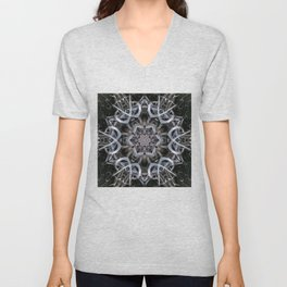 Dark natural mandala by twisted tree branches Unisex V-Neck