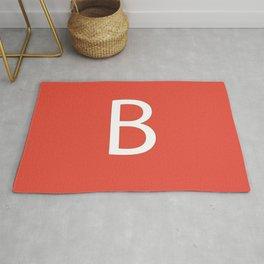 Letter B Initial Monogram - White on Alizarin Rug
