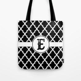 Black Monogram: Letter E Tote Bag