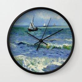 """Vincent Van Gogh """"The Sea at Les Saintes-Maries-de-la-Mer"""" Wall Clock"""