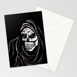 Grim Death reaper Halloween death skull horror day Stationery Cards