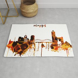 Memphis Tennessee Red Yellow Skyline Rug
