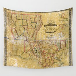La Tourrette's Map of Louisiana (1848) Wall Tapestry