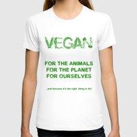 vegan T-shirts featuring Why Vegan? by VegArt