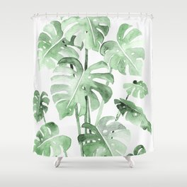 Delicate Monstera Green #society6 Shower Curtain