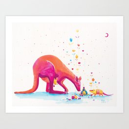 Princess Kangaroo Art Print - Armadillo's Generous Offering Art Print