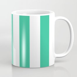 Mountain Meadow green - solid color - white vertical lines pattern Coffee Mug