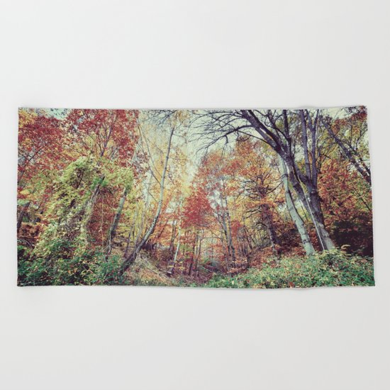 """Into the woods"" Autumn wander. Beach Towel"
