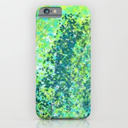 Lively Lime and Turquoise Paint Splatters Design iPhone Case