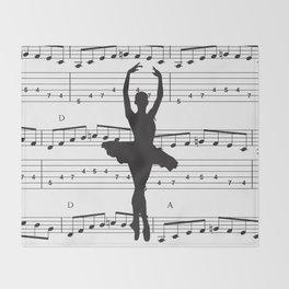 ballerina art, music Notes , girls nursery art, ballerina décor , girls nursery art , Throw Blanket