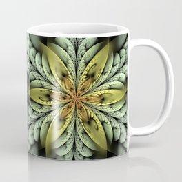 Golden flower with mint swirls Coffee Mug