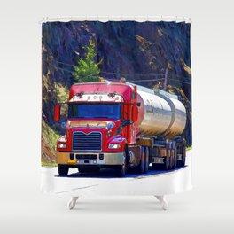 Truckers Big Rig Fuel Tanker Truck Shower Curtain