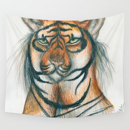 Moon Tiger Wall Tapestry