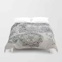 ganesh Duvet Covers featuring Henna Ganesh by Madeline Margaret