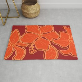 Kailua Hibiscus Hawaiian Sketchy Floral Design Rug