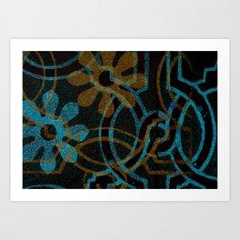 أميرة- Princess- Blue Yellow Art Print