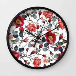 Beautiful vector pattern with red rose flowers in vintage watercolor realistic style Wall Clock