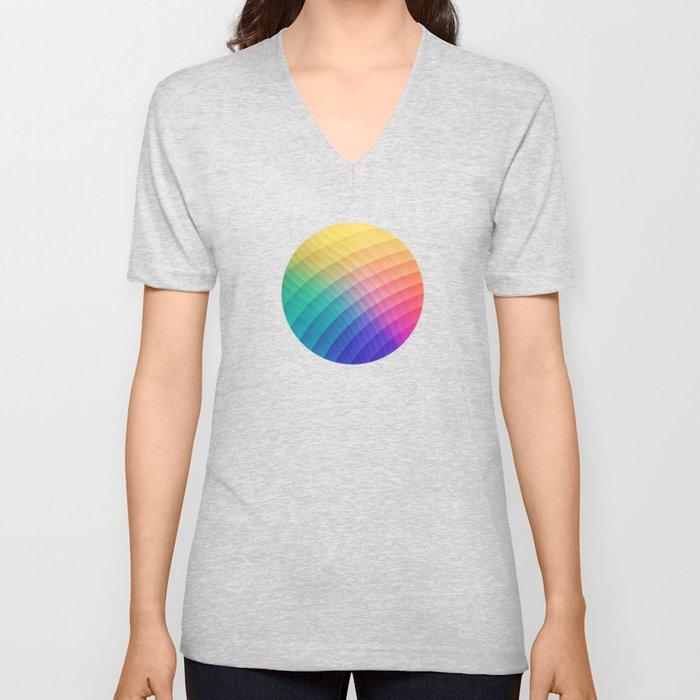 Spectrum Bomb! Fruity Fresh (HDR Rainbow Colorful Experimental Pattern) Unisex V-Neck