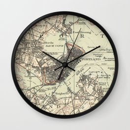 Vintage Map of Portland Maine (1914) Wall Clock