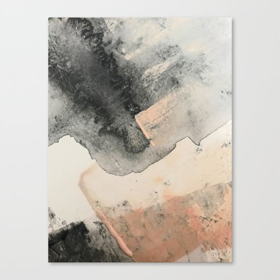 Peace and Quiet [2]: a pretty, minimal abstract piece in gray and peach by Alyssa Hamilton Art by blushingbrushstudio