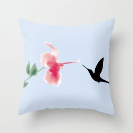 Hummingbird and Flower Throw Pillow
