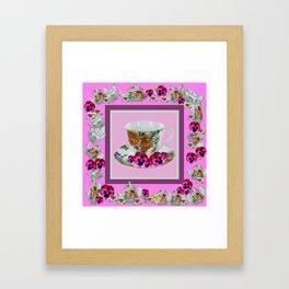 CERISE PANSY FLOWERS ANTIQUE TEA POTS & CUPS Framed Art Print