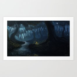 Dusk in the forest Art Print