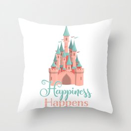 Happiness Happens Castle Newlywed Engagement Couple Throw Pillow