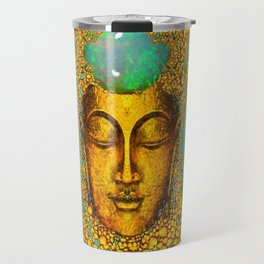 TURQUOISE ART DECO & FIRE OPALS GOLD BUDDHA ABSTRACT Travel Mug