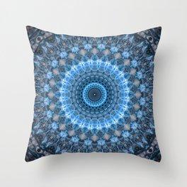 Digital mandala with light blue dominant. Throw Pillow