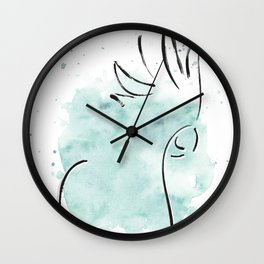 Cockatoo Abstract Brush - Mint Green Wall Clock
