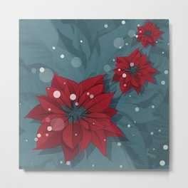Poinsettias - Christmas flowers   BG Color II Metal Print