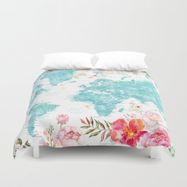 Floral watercolor world map in aquamarine blue Duvet Cover